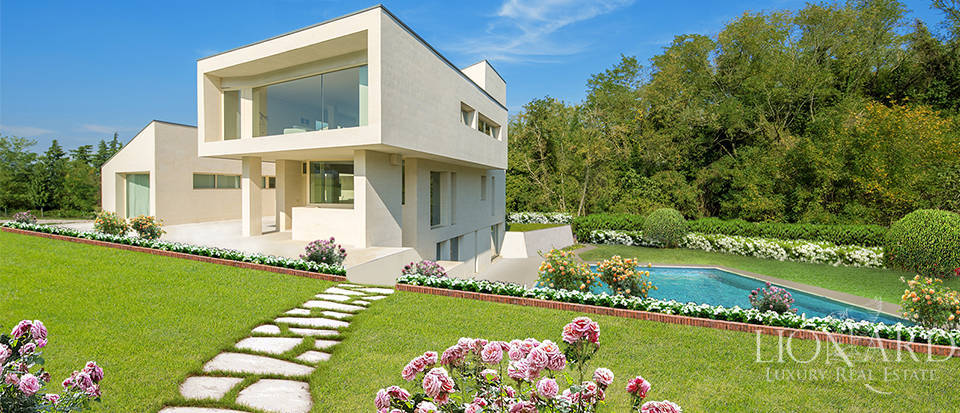 modern villa with a park and swimming pool in bologna